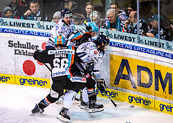 29.02.2020, Keine Sorgen Eisarena, Linz, AUT, EBEL, EHC Liwest Black Wings Linz vs Fehervar AV 19, Zwischenrunde, 10. Qualifikationsrunde, im Bild v.l. Stefan Gaffal (EHC Liwest Black Wings Linz), Julian Pusnik (EHC Liwest Black Wings Linz), Scott Timmins (Hydro Fehervar AV 19) // during the Erste Bank Eishockey League Intermediate round, 10th qualifying round match between EHC Liwest Black Wings Linz and Fehervar AV 19 at the Keine Sorgen Eisarena in Linz, Austria on 2020/02/29. EXPA Pictures © 2020, PhotoCredit: EXPA/ Reinhard Eisenbauer