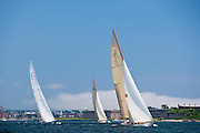 Gleam, Columbia, and Onawa, sailing in the Robert H. Tiedemann Classic Yachting Weekend race 1.