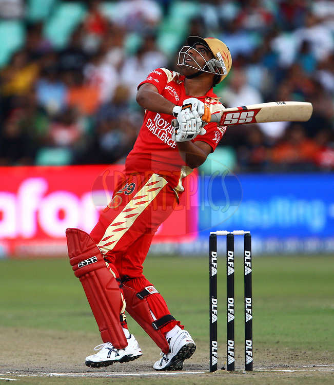 DURBAN, SOUTH AFRICA - 1 May 2009.Bishwoi hits this one high during the IPL Season 2 match between Kings X1 Punjab and the Royal Challengers Bangalore held at Sahara Stadium Kingsmead, Durban, South Africa..