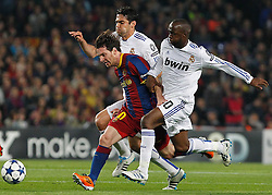 03-05-2011 VOETBAL: SEMI FINAL CL  FC BARCELONA - REAL MADRID: BARCELONA<br /> Lionel Messi  and Kaka (l) and Lass Diarra <br /> *** NETHERLANDS ONLY***<br /> ©2011-FH.nl- EXPA/ Alterphotos/ Acero