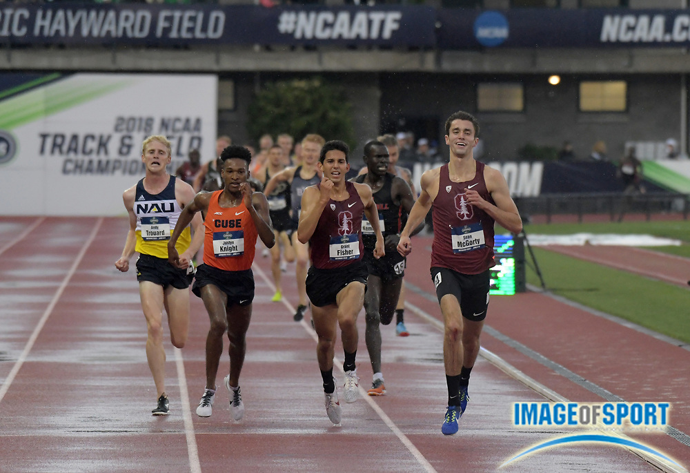Jun 8, 2018; Eugene, OR, USA; Sean McGorty of Stanford defeats Justyn Knight of Syracuse and Grant Fisher of Stanford to win the 5,000m in 13:54.81 during the NCAA Track and Field championships at Hayward Field.