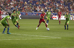 June 13, 2018 - Harrison, New Jersey, United States - Daniel Royer (77) of Red Bulls controls ball during regular MLS game against Seattle Sounders at Red Bull Arena Red Bulls won 2 -1  (Credit Image: © Lev Radin/Pacific Press via ZUMA Wire)