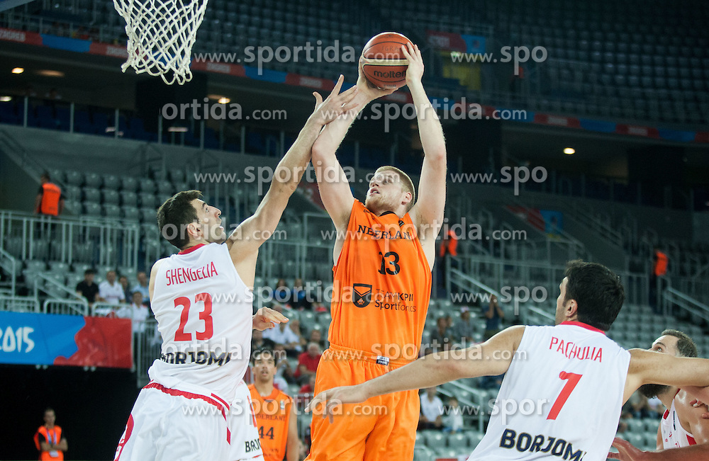 Torniken Shengelia of Georgia vs Rowland Schaftenaar of Netherlands during basketball match between Georgia and Netherlands at Day 1 in Group C of FIBA Europe Eurobasket 2015, on September 5, 2015, in Arena Zagreb, Croatia. Photo by Vid Ponikvar / Sportida
