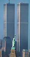 World Trade Center with Statue of Liberty in foreground