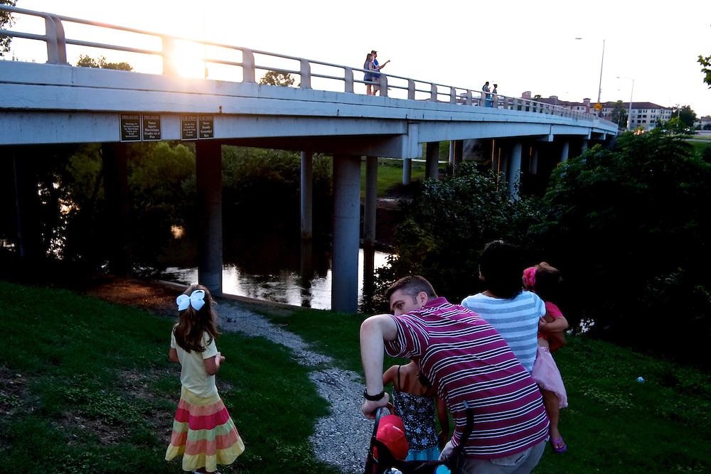 Waiting for bats, Waugh Bridge. Houston, TX