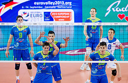 Matevz Kamnik #7 of Slovenia, Klemen Cebulj #18 of Slovenia during qualifications match of FIVB Men's Volleyball World Championship 2014 between National teams of Slovenia and Israel in pool B on May 25, 2013 in Arena Stozice, Ljubljana, Slovenia. Slovenia defeated Hungary 3-0. (Photo By Vid Ponikvar / Sportida)