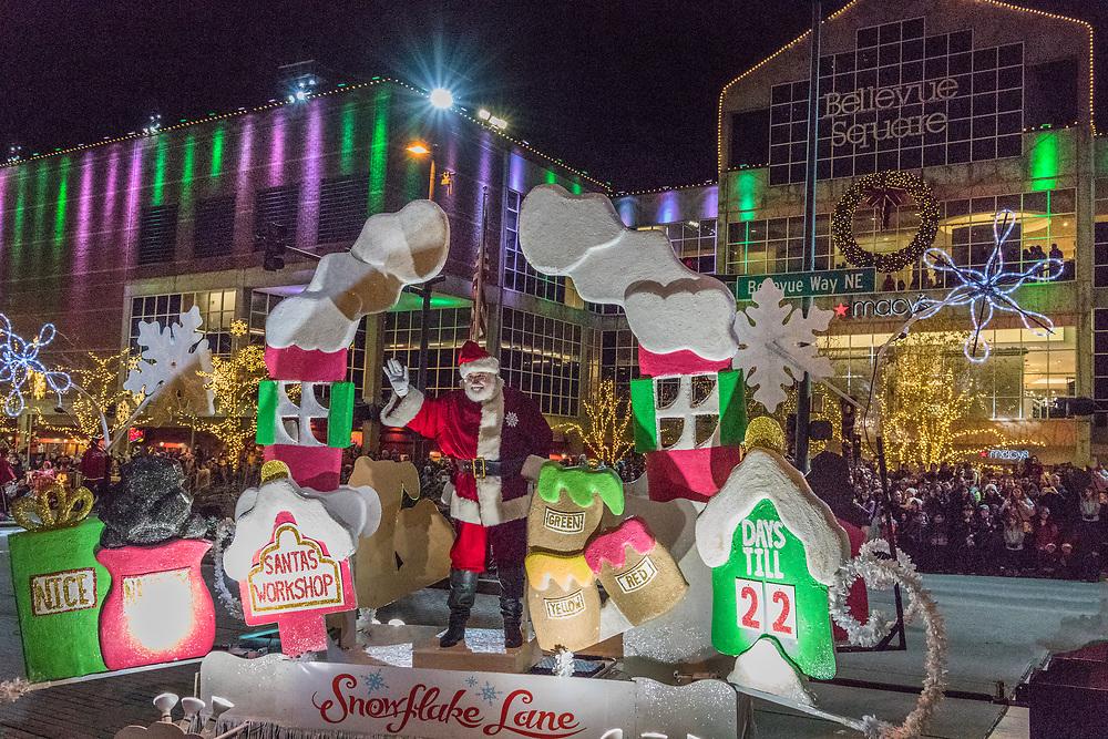 Snowflake Lane, with Santa on Bellevue Way