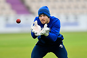 Lewis McManus of Hampshire warming up before the second day of play in the Specsavers County Champ Div 1 match between Hampshire County Cricket Club and Essex County Cricket Club at the Ageas Bowl, Southampton, United Kingdom on 28 April 2018. Picture by Graham Hunt.