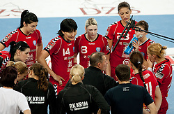 Tone Tiselj, head coach of Krim with his players during handball match between RK Krim Mercator and Larvik HK (NOR) of Women's EHF Champions League 2011/2012, on November 13, 2011 in Arena Stozice, Ljubljana, Slovenia. Larvik defeated Krim 22-19 but both teams qualified to new round. (Photo By Vid Ponikvar / Sportida.com)