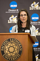 Debbie Hoddevick Booth '91, speaks at the PLU Sports Hall of Fame banquet on Friday, Oct. 3, 2014. (PLU Photo/John Froschauer)