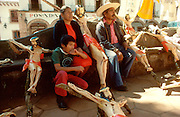 MEXICO, MARKETS, PATZCUARO famous craft market with rural family  selling their crafts and handmade  crucifixs