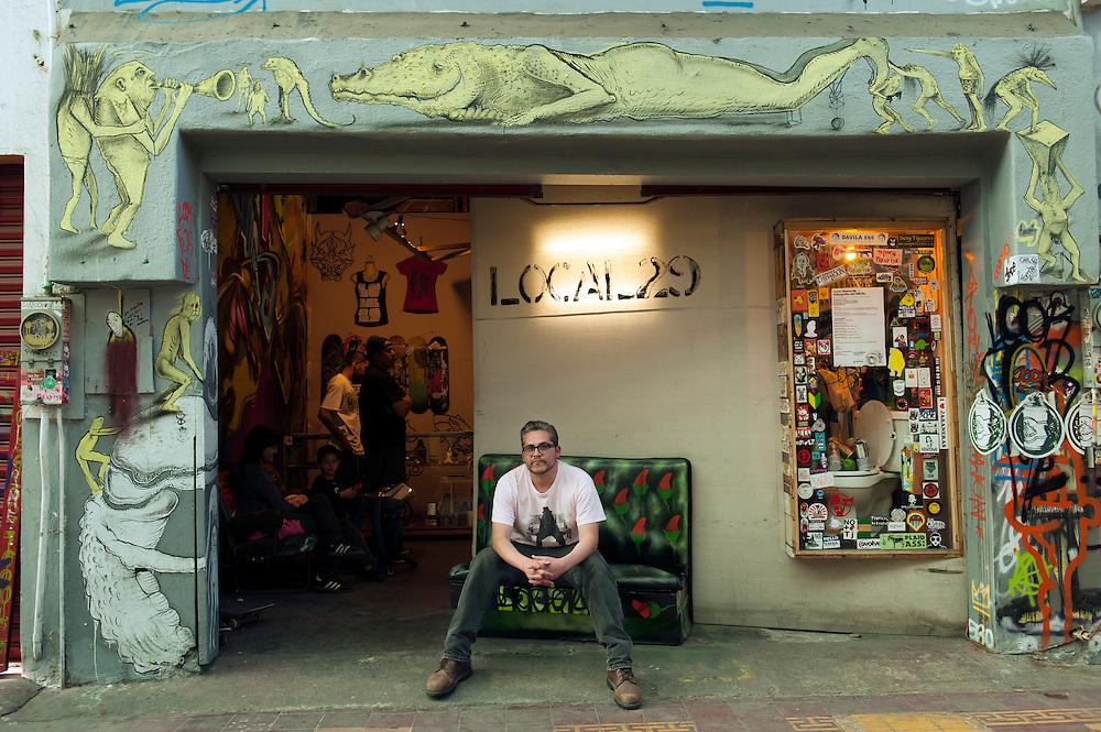 Frank Romero, owner, Local 29 store, Pasaje Rodriguez, Tijuana.  ..© Stefan Falke.http://www.stefanfalke.com/..