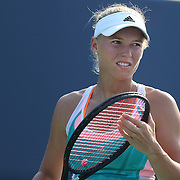 Caroline Wozniacki, Denmark, in action against Karin Knapp, Italy, during the New Haven Tennis Open at Yale,, Connecticut, USA. 20th August 2013. Photo Tim Clayton