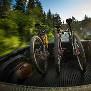 Driving along the Seward Highway during a mountain bike trip in Alaska.