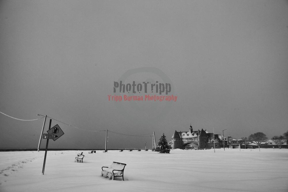 Saturday's snowy  Winter Sunrise  at Narragansett Town Beach, Narragansett, RI,  February  9, 2013.