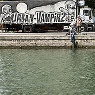 Paris 19th. the Canal de l'Ourcq