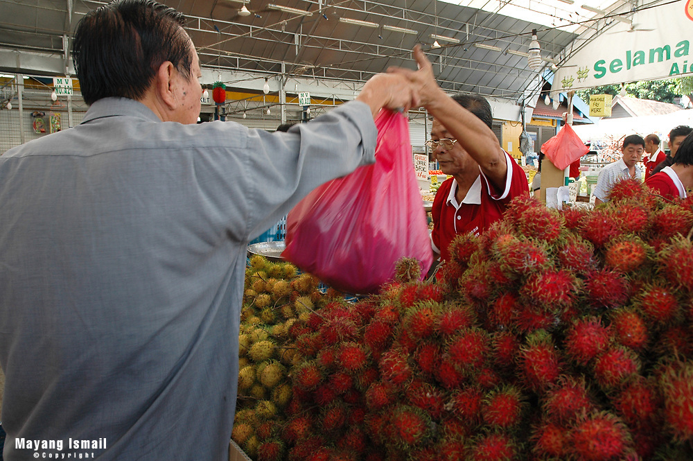 Asia's favourite fruit - the Rambutan sold at Geylang open mart, Singapore