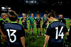 ASTANA, KAZAKHSTAN - Sunday, September 17, 2017: Wales players after the FIFA Women's World Cup 2019 Qualifying Round Group 1 match between Kazakhstan and Wales at the Astana Arena. captain Sophie Ingle, goalkeeper Laura O'Sullivan, Gemma Evans, Rhiannon Roberts. (Pic by David Rawcliffe/Propaganda)