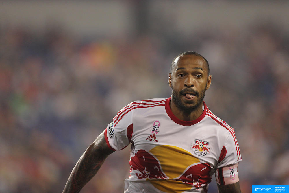 Thierry Henry, New York Red Bulls, in action during the New York Red Bulls V New England Revolution, Major League Soccer regular season match at Red Bull Arena, Harrison, New Jersey. USA. 5th October 2013. Photo Tim Clayton