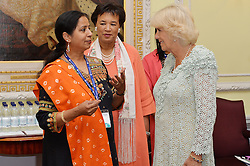 © Licensed to London News Pictures. 14/07/2016. Commomwealth Secretary-General Patricia Scotland hosts HRH the Duchess of Cornwall and meet delegates attending a violence against women discussion group at the inaugural Commonwealth Women's Leader's Summit at Marlborough House.  London, UK. Photo credit: Ray Tang/LNP