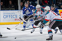 KELOWNA, CANADA -FEBRUARY 8: Jordan Fransoo #4 of the Victoria Royals blocks the net as Myles Bell #29 of the Kelowna Rockets is checked by Brandon Fushimi #25 of the Victoria Royals during the third period as Carter Rigby #11 of the Kelowna Rockets winds up for a shot on net on February 8, 2014 at Prospera Place in Kelowna, British Columbia, Canada.   (Photo by Marissa Baecker/Getty Images)  *** Local Caption *** Brandon Fushimi; Myles Bell; Carter Rigby; Jordan Fransoo;