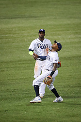 July 25, 2017 - St. Petersburg, Florida, U.S. - WILL VRAGOVIC   |   Times.Tampa Bay Rays shortstop Tim Beckham (1) gets under the pop up by Baltimore Orioles second baseman Jonathan Schoop (6) in the fifth inning of the game between the Baltimore Orioles and the Tampa Bay Rays at Tropicana Field in St. Petersburg, Fla. on Tuesday, July 25, 2017. (Credit Image: © Will Vragovic/Tampa Bay Times via ZUMA Wire)