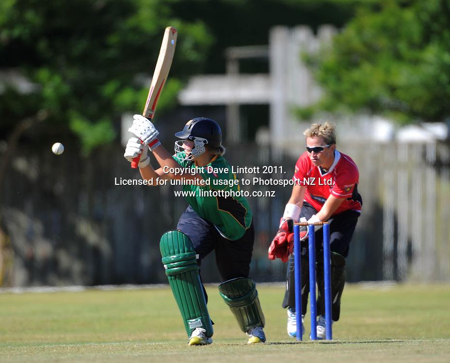 Hinds captain Aimee Watkins hits a four. Women's Twenty20 cricket - Central Hinds v Canterbury Magicians at Kena Kena Park, Paraparaumu Beach, Kapiti Coast, New Zealand on Friday, 14 January 2011. Photo: Dave Lintott / photosport.co.nz