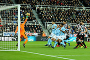 Robert Elliot (#1) of Newcastle United tips a header over his crossbar during the Premier League match between Newcastle United and Manchester City at St. James's Park, Newcastle, England on 27 December 2017. Photo by Craig Doyle.