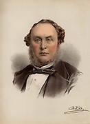 Michael Andrew Angus Costa (1808-1884), Italian-born conductor and composer. Settled in England in 1830, naturalised and knighted in 1869.  Principal conductor at Covent Garden and of the Philharmonic Society.  From 'The Modern Portrait Gallery' (London,  c1880).