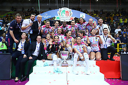 03-02-2019 ITA: Igor Gorgonzola Novara - Pomi Casalmaggiore, Verona <br /> Finali Samsung Coppa Italia 2018-2019 Pallavolo Femminile / Team Novara win the Coppa Italia with Celeste Plak #4 of Novara<br /> <br /> *** Netherlands use only ***