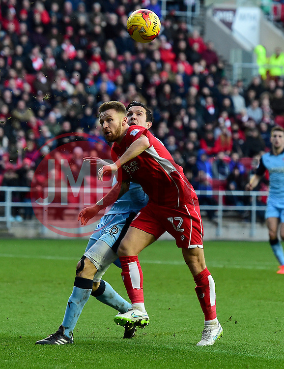 Matty Taylor of Bristol City battles for the ball with Richard Wood of Rotherham United  - Mandatory by-line: Joe Meredith/JMP - 04/02/2017 - FOOTBALL - Ashton Gate - Bristol, England - Bristol City v Rotherham United - Sky Bet Championship