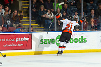 KELOWNA, BC - NOVEMBER 8: Brett Kemp #21 of the Medicine Hat Tigers celebrates a goal against the Kelowna Rockets at Prospera Place on November 8, 2019 in Kelowna, Canada. (Photo by Marissa Baecker/Shoot the Breeze)