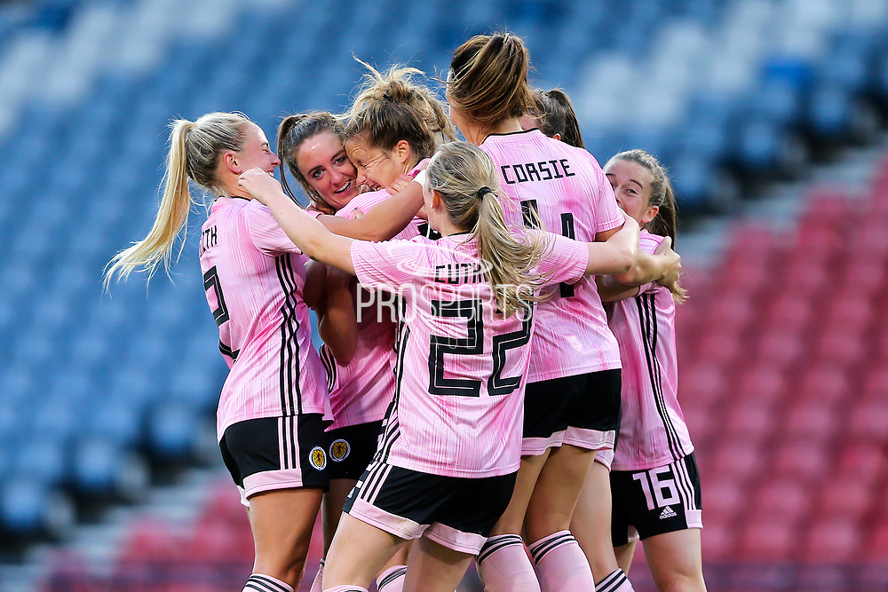 Sophie Howard (#15) of Scotland celebrates Scotland's third goal (3-2) with Scotland team mates during the International Friendly match between Scotland Women and Jamaica Women at Hampden Park, Glasgow, United Kingdom on 28 May 2019.