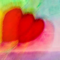 Dancing hearts is a blend of mixed media painting and digital photography. Art with Hearts, colorful happy art, original, expressive, acrylic and digital heart creations