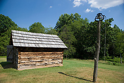 Smokehouse, Booker T. Washington National Monument, Hardy, Virginia, August 5, 2008.  The Monument is located on the site of the James and Elizabeth Burroughs Plantation, where Washington was born a slave on April 5, 1865.