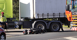 A motorcyclist has died after colliding with a truck on Totora Street in Mount Maunganui, Tauranga, New Zealand, Saturday, April 07, 2018. Credit:SNPA / Cameron Avery  **NO ARCHIVING**