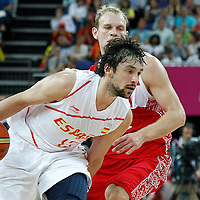 10 August 2012: Spain Sergio Llull dribbles during 67-59 Team Spain victory over Team Russia, during the men's basketball semi-finals, at the North Greenwich Arena, in London, Great Britain.