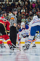 PENTICTON, CANADA - SEPTEMBER 17: Chad Butcher #65 of Edmonton Oilers faces off against the Calgary Flames on September 17, 2016 at the South Okanagan Event Centre in Penticton, British Columbia, Canada.  (Photo by Marissa Baecker/Shoot the Breeze)  *** Local Caption *** Chad Butcher;