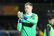 AFC Wimbledon goalkeeper Aaron Ramsdale (35) clapping at end of game during the EFL Sky Bet League 1 match between AFC Wimbledon and Barnsley at the Cherry Red Records Stadium, Kingston, England on 19 January 2019.