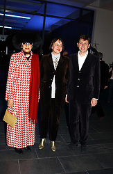MRS HELGA BLOW PERERA, SELINA BLOW and her husband MR CHARLES LEVENSON at the launch party for 'The London Look - Fashion From Street to Catwalk' held at the Museum of London, London Wall, Londom EC2 on 28th October 2004<br />