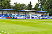 A general view of the main stand before the Pre-Season Friendly match between Tadcaster Albion and Leeds United at i2i Stadium, Tadcaster, United Kingdom on 17 July 2019.