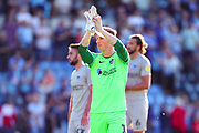 Portsmouth goalkeeper Craig MacGillivray (1) thanks the travelling fans during the EFL Sky Bet League 1 match between Wycombe Wanderers and Portsmouth at Adams Park, High Wycombe, England on 21 September 2019.