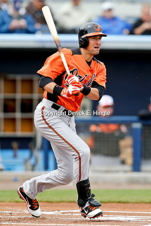 Mar 2, 2013; Port Charlotte, FL, USA; Baltimore Orioles second baseman Ryan Flaherty (3) during a spring training game against the Tampa Bay Rays at Charlotte Sports Park. Mandatory Credit: Derick E. Hingle-USA TODAY Sports