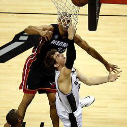 Jun 16, 2013; San Antonio, TX, USA; San Antonio Spurs center Tiago Splitter (22) shoots against Miami Heat small forward Shane Battier (31) during the third quarter of game five in the 2013 NBA Finals at the AT&T Center. Mandatory Credit: Derick E. Hingle-USA TODAY Sports