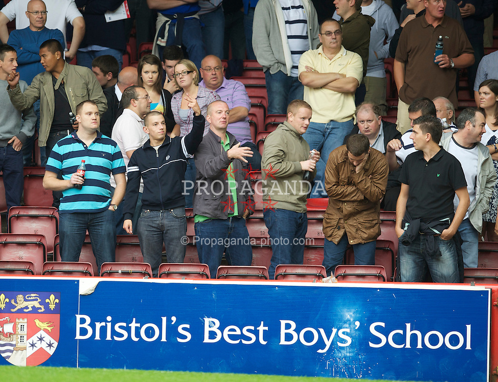 BRISTOL, ENGLAND - Saturday, August 7, 2010: Millwall supporters during the League Championship match against Bristol City at Ashton Gate. (Pic by: David Rawcliffe/Propaganda)