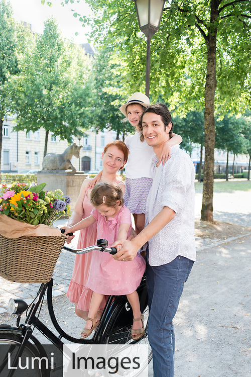 Family, Daughter, Father, Mother, Bicycle, Flower, City Life