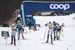 Svahn Linn (SWE), Sundling Jonna (SWE), Nilsson Stina (SWE), Caldwell Sophie (USA) during the Ladies sprint free race at FIS Cross Country World Cup Planica 2019, on December 21, 2019 at Planica, Slovenia. Photo By Grega Valancic / Sportida