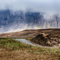 Road heading into The Cullin Mountains, Skye