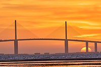 Sun rising under the Sunshine Skyway bridge from Fort De Soto Park. 2 of 4 images taken with a Fuji X-H1 camera and 200 mm f/2 OIS lens with a 1.4x teleconverter (ISO 400, 280 mm, f/16, 1/80 sec). Raw images processed with Capture One Pro and AutoPano Giga Pro.