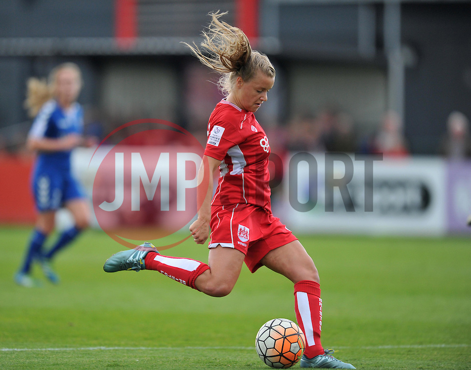 Olivia Fergusson of Bristol City Women shoots to score the opening goal against Durham Ladies - Mandatory by-line: Paul Knight/JMP - 24/09/2016 - FOOTBALL - Stoke Gifford Stadium - Bristol, England - Bristol City Women v Durham Ladies - FA Women's Super League 2